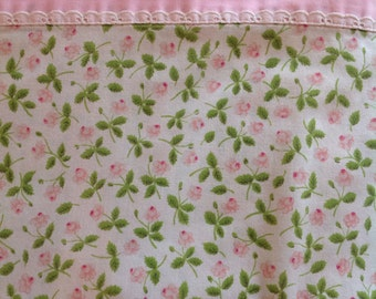 Mini pink roses with green leaves......Vintage flat sheet...Lady Pepperral.....pink border