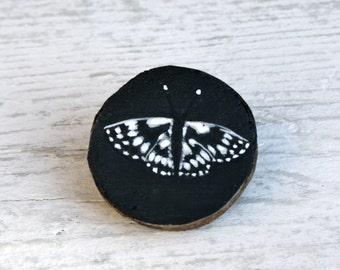 Moth- wooden handpainted brooch.