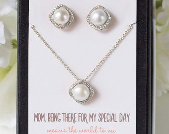 Ivory Pearl Earring and necklace set Personalized Bridesmaids Gift pearl earrings pearl silver earrings pearl necklace N534S