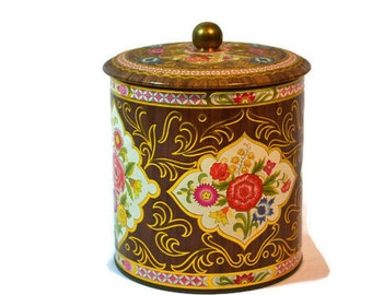 Vintage Daher Tin, Brown, Floral Canister, Button Tin, Button Box, Cottage Chic, Farmhouse Decor