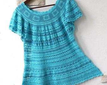 Crochet tunic Turquoise (cotton)