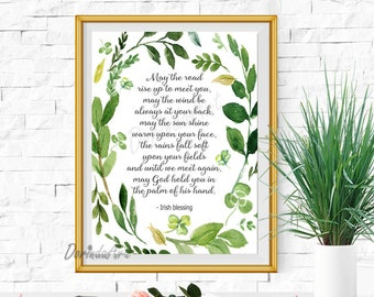 Irish blessing Printable decor Irish quote Irish print Clover Wreath 16x20 11x14 8x10 5x7 DOWNLOAD May the road rise to meet St Patrics day