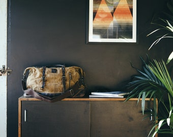 Waxed Canvas Holdall /  Bag with Brown Leather /  Waxed Canvas Rucksack / Laptop Bag / Vintage Backpack /