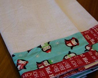 Christmas Flour Sack Towels Holiday set dish towels of two holiday design teacher gift housewarming gift stocking stuffer aqua kitchen