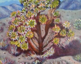 "Desert Landscape// Original Painting// ""Joshua Tree""//18 x 24// Impressionistic View of a Joshua Tree Standing Guard over the Desert"
