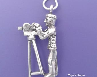VIDEO or CAMERA MAN Charm .925 Sterling Silver Movie Director Pendant - lp3995