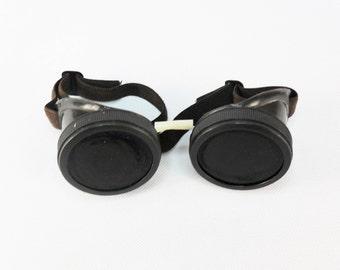 Vintage welders glasses Soviet welding tools Black glass Motorcycle goggles Steampunk glasses Metallurgist eyeglasses Retro collectibles