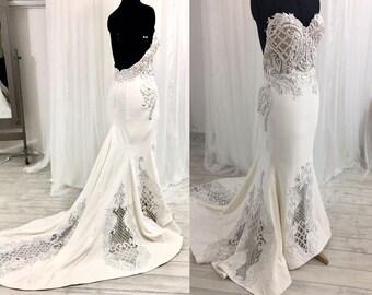 Low Back Wedding Dress, Lace Wedding Dress, Strapless Wedding Dress, Corset Wedding Dress, Mermaid Wedding Dress