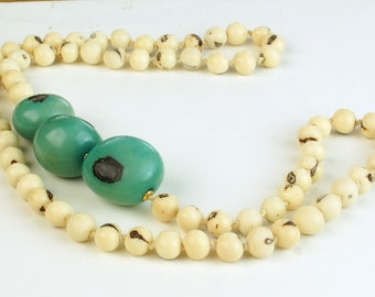 Tagua Nut Necklace, Tagua Necklace, Organic Acai beads Necklace, Eco Friendly, Handmade, Tagua Jewelry, Natural Necklace