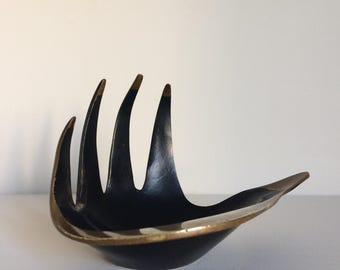 Mid Century DISH in BRASS Hand Shaped by LSM Vintage 1950's Style of Walter Bosse tray Modernist Black Ornament mcm