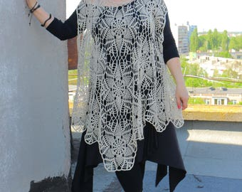 FREE SHIPPING***Oversize (Plus) - ComfyPlus up to 5XL*Handmade Crochet Open Work Tunic - Poncho*Cover Up Cotton dress*Asymmetric Boho chic.