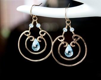 Blue Topaz Wire Wrapped Earrings, Blue Statement Earrings, Swiss Blue Topaz, Chandelier Earrings, Circle earrings