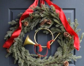 The Huntsman Wreath | Fox Hunt Wreath | Equestrian Decoration | Winter Wreath | Fox Hunt Horn | Evergreen Wreaths | Winter Wreath