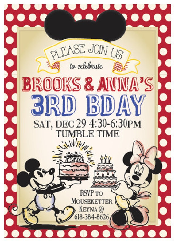 Classic Vintage Mickey Mouse or Minnie Mouse Birthday Invitation