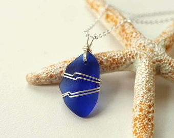 Wire wrapped sea glass pendant cobalt blue sea glass jewelry wire wrapped seaglass necklace wire-wrapped sea glass necklace gift for mother