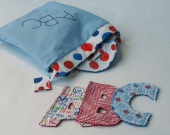 Quilted Alphabet - Sweet Cloth Letters for Toddler Play and Learning- Fabric Alphabet Soft for Little hands - Educational Gift