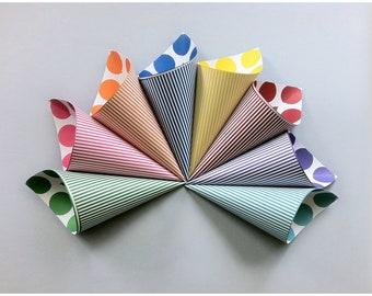 Striped Cones - Popcorn Cones - Carnival Cones - Circus Cones - Party Snack Cups - Candy Cone - Wedding Candy Bar - Cotton Candy Cone