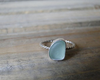 Custom Sea Glass Ring, Beaded Band or Twisted Band, Genuine Sea Glass, Made to Order, Choose Your Own Sea Glass, Sea Glass Jewelry