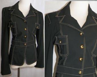 In StitCHeS...90s BiSou BiSou Black Blazer Jacket with tortoise buttons & white stitching / M L black rayon nylon lightweight jacket