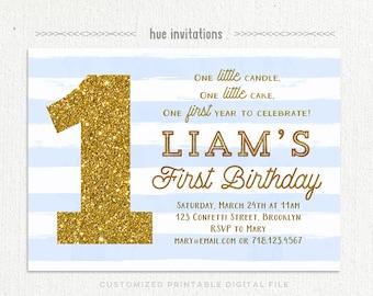 first birthday invitation boy, baby blue stripes gold glitter boys 1st birthday invitation, one birthday invite, printable digital file