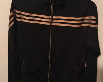 BLACK & GOLD ADIDAS Warm-Up/Track Suit Style Zip-Up Jacket, Three Iconic Stripes, Metallic Gold Striped Lightweight Zippered Coat