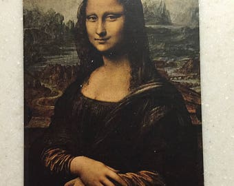 Postcard Mona Lisa Portrait by Leonardo de Vinci printed in Paris Louvre Museum
