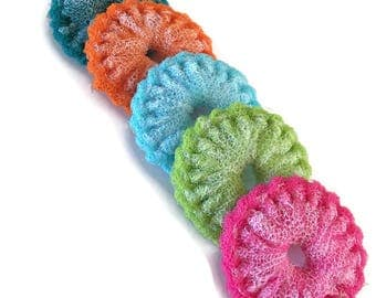 """Dish Scrubbies , 5 Mini Dish Scrubbies, Nylon Pot Scrubbers,Double Layered -  You Choose the Color - 3 1/4""""  to  3 1/2 """" Dia -  Gift For Her"""