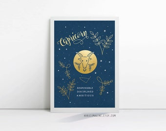 Capricorn, zodiac art print, star sign, astrology gifts, christmas gift