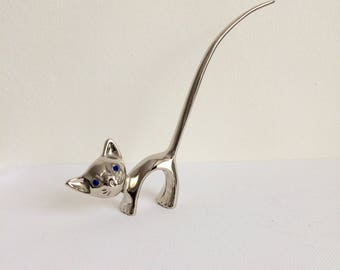 Vintage Ring Holder, Cat Ring Holder, Silver plated
