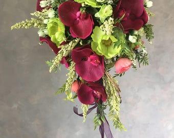 SILK FLOWER WEDDING bouquet purple Orchids