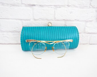 Vintage Semi Rimless Bausch & Lomb 12K Gold Filled Cat Eye Glasses with Bifocal Lenses and Turquoise Case
