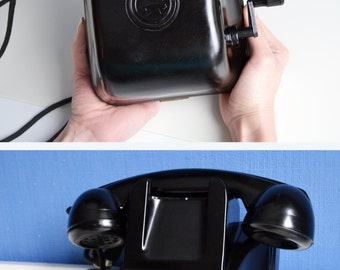 Vintage Bakelite Telephone, Hand Crank Phone, 50s Vintage, Wall Mount Phone, Magneto Hand Crank Phone, Rare Retro Phone, Retro Office Decor
