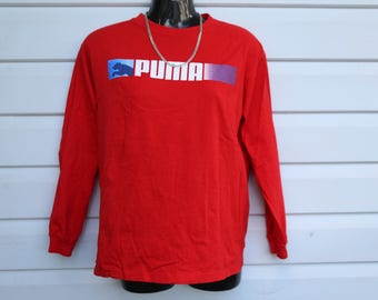 PUMA long sleeve pullover shirt red M