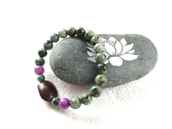 Bohemian Stretch Bracelet, Boho Chic Bracelet, African Turquoise and Quartzite Stretch Bracelet, Casual Natural Jewelry