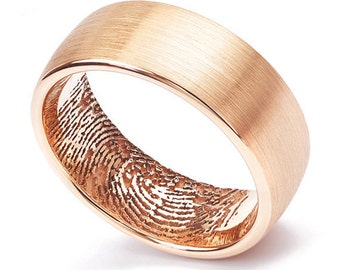 18ct Rose Gold 8mm Fingerprint Wedding Ring