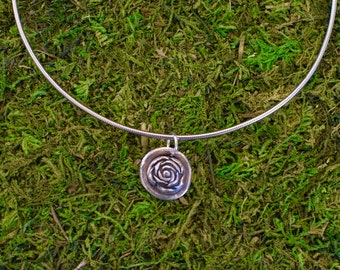 Fine Silver Rose on a Delicate Circle Background | Precious Metal Clay