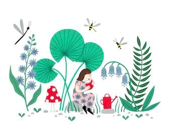 A4 Garden Girl Art print | Fun botanical wall art | Gardening pattern poster | Garden painting | gardening gift | decorative art