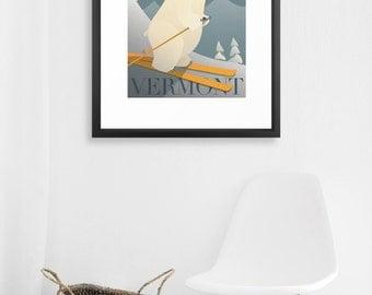 FRAMED Ski Season Poster. Winter Cabin Decor - Ski New Hampshire - Polar Bear - Vintage Style Print.