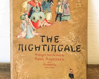 Vintage The Nightingale Children's Book - Hans Andersen - Illustrated by Rene Cloke - Kids Books - Storytime - Bedtime Stories