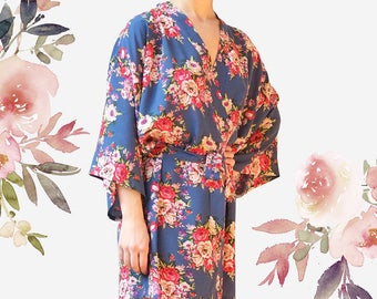 Floral Bridesmaid Robes, Cotton Floral Robes, Bridal Cotton Robe, Maid of Honor Robes, Bridal Party Robes, bridesmaid floral robes