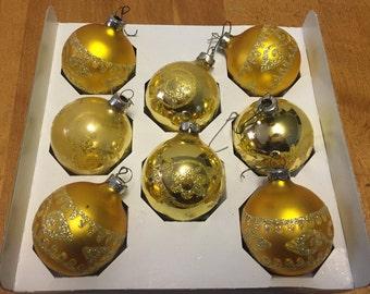 Vintage Gold Christmas Ornaments, Holiday Home Decor, Xmas Decorations, Tree Decor, Baubles, Christmas Tree
