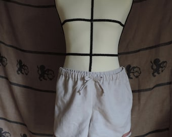 Boxer shorts for men in cream linen, viking style, medieval, roleplay