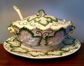 Stunning soup tureen with ladle and large platter made in Portugal