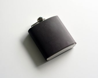 Old aged leather wrapped 6 oz stainless steel flask / groomsman gift / handmade / brown / rustic leather flask