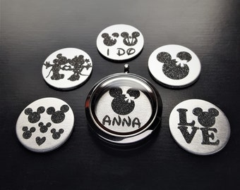 Mickey Window Plate for Floating Lockets-1 Piece-Fits 30mm (Large) Lockets-Gift Ideas