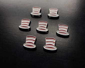 Hat Floating Charm for Floating Lockets-Cat in the Hat-Red and White Striped Hat Charm-Gift Idea
