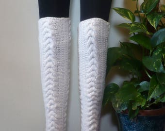 OverKnee Leg Warmers Cabled Warm Hand Knitted Ladies / Girls / Women Wool Blend
