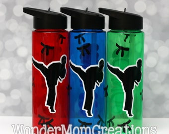 Karate Water Bottle; Personalized Martial Arts Water Bottle; Taekwondo Water Bottle