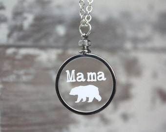 Mama Bear Necklace - Silver Necklace - Mom Necklace - Gifts For Her