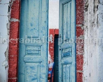 Greek Door Photo Santorini Greece Charm Photo Fine Art Photography European Old World Charm Romantic White Blue Red Home Decor Wall Art